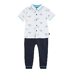Baker by Ted Baker - Boys' white car print jersey shirt and blue jogging bottoms set