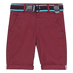 Baker by Ted Baker - 'Boys' dark red printed chino shorts
