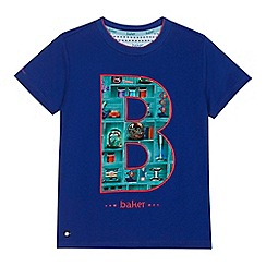 Baker by Ted Baker - 'Boys' blue bookshelf print logo applique t-shirt