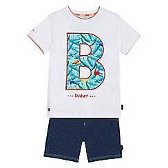 Baker by Ted Baker - 'Boys' white flamingo logo print top and shorts set
