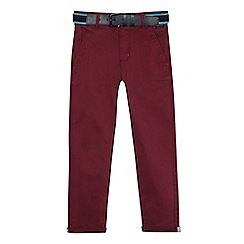 Baker by Ted Baker - Boys' dark red belted chinos