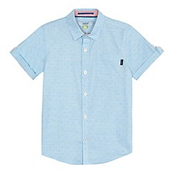 Baker by Ted Baker - 'Boys' pale blue textured fine striped short sleeve shirt