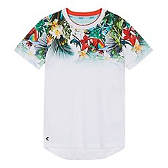 Baker by Ted Baker - 'Boys' white tropical print t-shirt