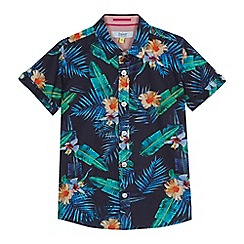 Baker by Ted Baker - 'Boys' navy tropical leaf print short sleeve shirt
