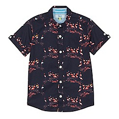 Baker by Ted Baker - 'Boys' navy flamingo print short sleeve shirt