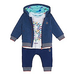 Baker by Ted Baker - Baby boys' navy printed hoodie, t-shirt and bottoms set