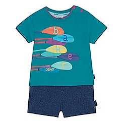 Baker by Ted Baker - Baby boys' green paddle print t-shirt and shorts set