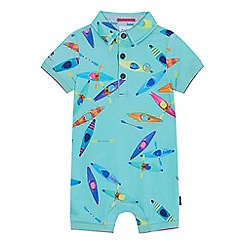 Baker by Ted Baker - 'Baby boys' green canoe print short sleeve romper suit