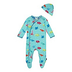 Baker by Ted Baker - Baby boys' green toy print sleepsuit and hat set