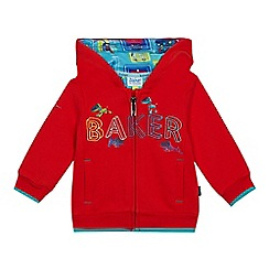 Baker by Ted Baker - Baby boy's red embroidered logo zip through hoodie
