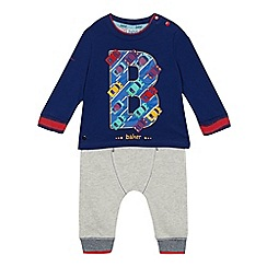 Baker by Ted Baker - Baby boys' blue car logo top and jogging bottoms set