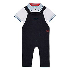Baker by Ted Baker - Baby boys' blue dungarees and white polo top set