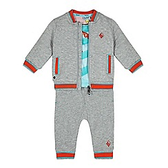 Baker by Ted Baker - Baby boys' grey quilted bomber sweater, top and bottoms set