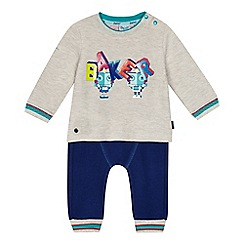 Baker by Ted Baker - 'Baby boys' light blue robot print top and jogging bottoms set