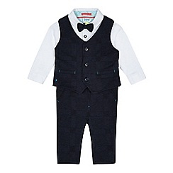 Baker by Ted Baker - Baby boys' navy checked waistcoat, bodysuit and trousers set