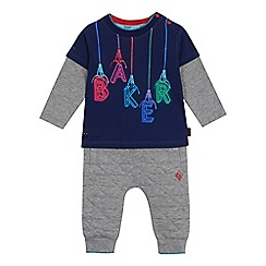 387bc2abc64ee Baker by Ted Baker - Baby boys  navy logo print mock top and grey jogging