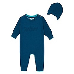 Baker by Ted Baker - Baby Boys' Green Romper Suit with Merino Wool and Hat