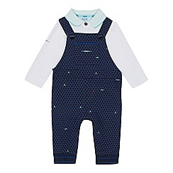 Baker by Ted Baker - Baby boys' blue dungarees and polo shirt set