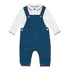 Baker by Ted Baker - Baby boys' blue tipped dungarees and polo shirt set