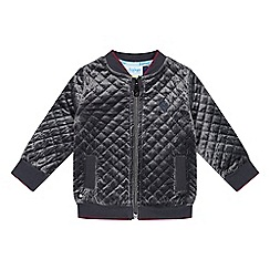 Baker by Ted Baker - Baby Boys' grey premium velour quilted bomber jacket