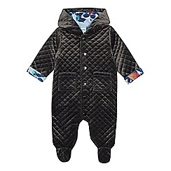Baker by Ted Baker - Baby Boys' Grey Quilted Velour Snugglesuit