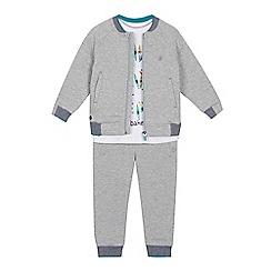 Baker by Ted Baker - Boys' grey logo print bomber jacket, t-shirt and jogging bottoms set