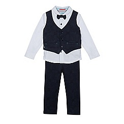 Baker by Ted Baker - Boys' navy dogtooth waistcoat, romper suit and trousers set