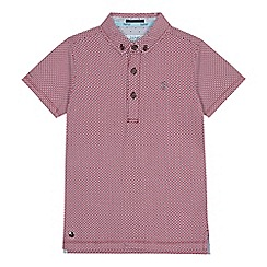 Baker by Ted Baker - Boys' dark red geometric print polo shirt