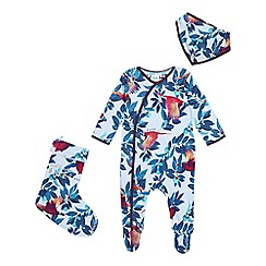 Baker by Ted Baker - Baby Boys' Multicoloured Pheasant Sleepsuit, Stocking and Bib Set