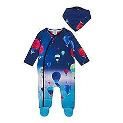 Baker by Ted Baker - Baby Boys' Multicoloured Hot Air Balloon Print Sleepsuit with a Bib