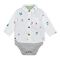 Baker by Ted Baker - Babies' White Aeroplane Print Shirt Bodysuit