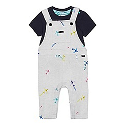 Baker by Ted Baker - Baby Boys' Light Grey Aeroplane Print Dunagrees and Top Set
