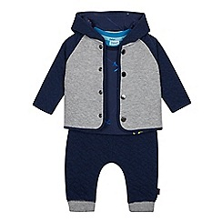 Baker by Ted Baker - Baby Boys' Navy Quilted Sweater, Top and Jogging Bottoms Set
