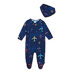 Baker by Ted Baker - Baby Boys' Navy Aeroplane Print Sleepsuit with a Bib