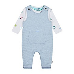 Baker by Ted Baker - Baby Boys' Grey Aeroplane Print Dunagrees and Top Set