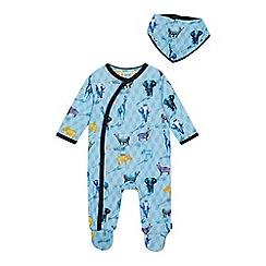 Baker by Ted Baker - Baby Boys' Aqua Safari Sleepsuit and Bib