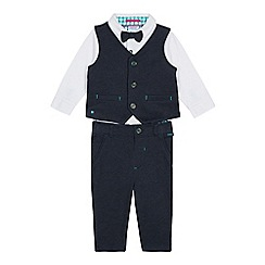 Baker by Ted Baker - Baby Boys' Navy Dogtooth Waistcoat, Bodysuit and Bottoms Set