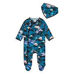 Baker by Ted Baker - Baby Boys' Green Floral Sleepsuit and Bib