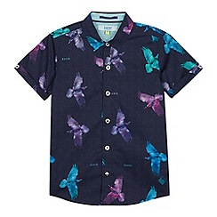 Baker by Ted Baker - Boys' Purple Bird Print Short Sleeve Shirt