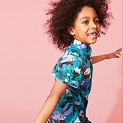Baker by Ted Baker - Boys' Green Lily Pad Print Short Sleeve Shirt
