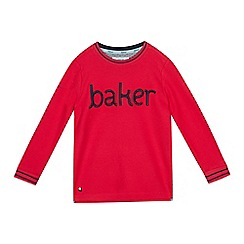 Baker by Ted Baker - Boys' Pink Embroidered Logo Long Sleeve T-Shirt