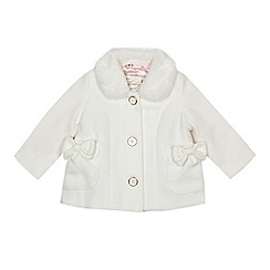 Baker by Ted Baker - Baby girls' white faux fur trim coat