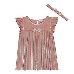 Baker by Ted Baker - Baby girls' pink velvet pleated dress and headband set