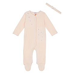 Baker by Ted Baker - Baby girls' light pink butterfly applique sleepsuit and headband set