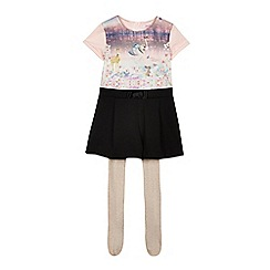 Baker by Ted Baker - Girls' pink woodland scene playsuit and tights set