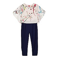 Baker by Ted Baker - Girls' pink floral cape jumpsuit