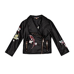 Baker by Ted Baker - Girls' black bird embroidered biker jacket