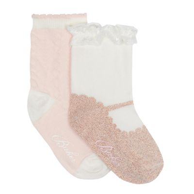 Baker By Ted Baker   Pack Of Two Baby Girls' Cream And Pink Logo Embroidered Socks by Baker By Ted Baker