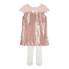 Baker by Ted Baker - Baby girls' light pink pleated dress and tights set