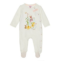 Baker by Ted Baker - Baby girls' off white 'B' glitter sleepsuit